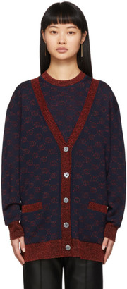 Gucci Navy and Red Lurex Interlocking G Cardigan