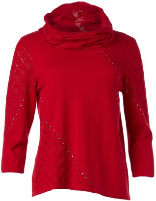 Alfred Dunner Women's Petite Textured Sweater with Detachable Scarf
