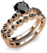 TriJewels Diamond Milgrain Work Bridal Set Ring & Wedding Band 1.25 ct tw in 14K Rose Gold.size 8.5