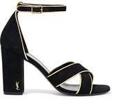 Saint Laurent Babies Metallic Leather-trimmed Suede Sandals - Black