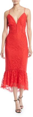 Lovers + Friends Evening Bloom Lace Flounce Midi Dress