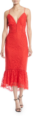 Lovers + Friends Lovers And Friends Evening Bloom Lace Flounce Midi Dress