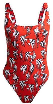 Fisch Select Ruched-strap Fish-print Swimsuit - Womens - Red Multi