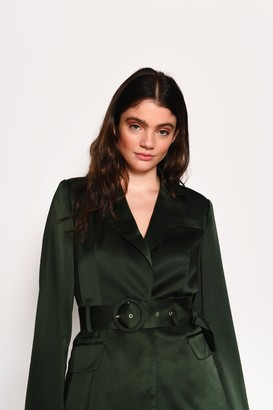 Glamorous Womens **Green Satin Belted Blazer By Green