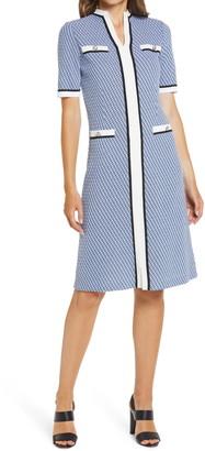 Ming Wang Jacquard Knit Shift Sweater Dress
