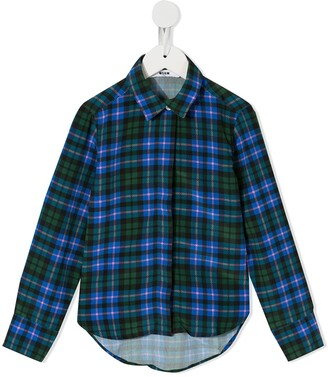 MSGM Kids check print shirt