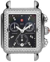 Michele 18mm Deco Diamond, Black Dial Watch Head, Steel