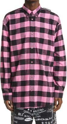Balenciaga Buffalo Check Logo Tab Men's Flannel Button-Down Shirt