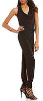 Laundry by Shelli Segal Cow Neck Sleeveless Side-Slit Jumpsuit