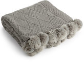 Martha Stewart Collection Basketweave Pom Pom Throw