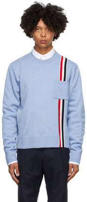 Thom Browne Blue Merino Intarsia Stripe Sweater