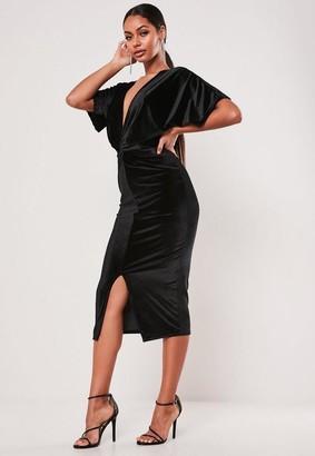 Missguided Black Velvet Twist Front Kimono Sleeve Midi Dress