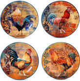Certified International Rustic Rooster Set of 4 Dessert Plates