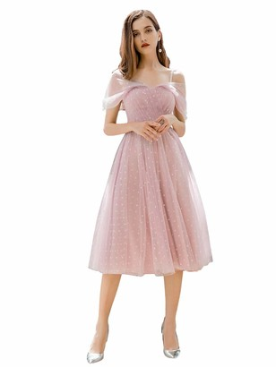 Ever Pretty Ever-Pretty Women's Off The Shoulder with Spaghetti Straps Midi Tulle Short Homecoming Dresses Mauve 12UK