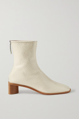 Acne Studios Textured Patent-leather Ankle Boots - Off-white