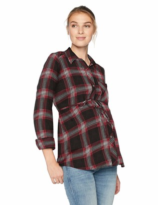 Motherhood Maternity Women's Maternity Convertible Sleeve Front Pocket Button Up Woven Shirt