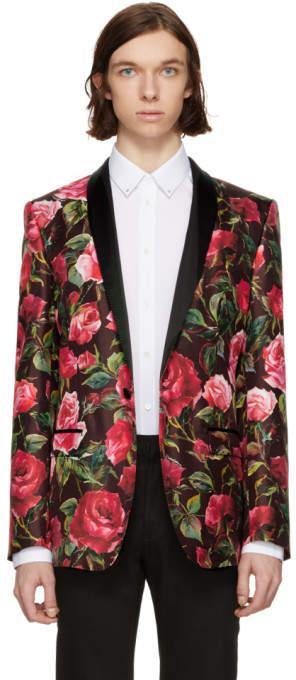 Dolce & Gabbana Red Silk Rose Single-Button Blazer