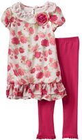 Nannette Toddler Girl Rose Dress & Ruffle Leggings Set
