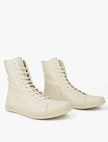 Rick Owens Cream Leather Hi-top Sneakers