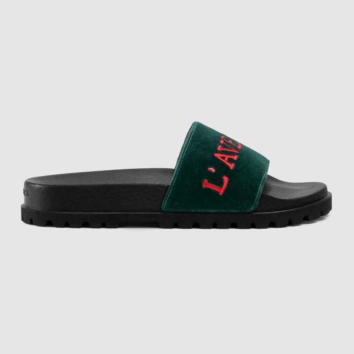 Gucci Velvet slide sandal with embroidery