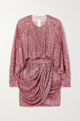 Redemption Draped Sequined Chiffon Mini Dress - Antique rose