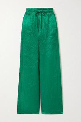 Sies Marjan Alima Crinkled-satin Track Pants - Emerald