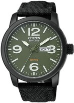 Citizen Men's Eco-Drive Military Black-plated Steel Canvas Strap Watch, 42mm