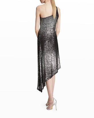 Halston Ariah One-Shoulder Ombre Sequin Dress