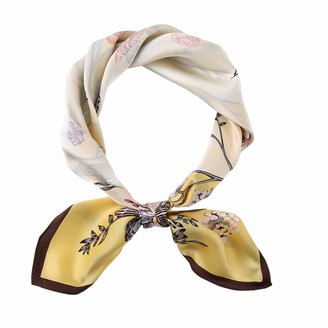 Houlife Lady 100% Satin Silk Scarf Small Square Floral Print Neck Scarf Vintage Flower Pattern Neckerchief for Women Girls Clothing Accessory