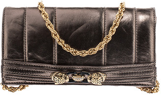 Roberto Cavalli Metallic Lion Head Embellished Leather Flap Chain Clutch