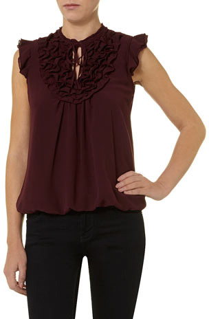 Dorothy Perkins Port ruffle bib chiffon top