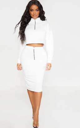 PrettyLittleThing Shape Black High Waist Sweat Midi Skirt
