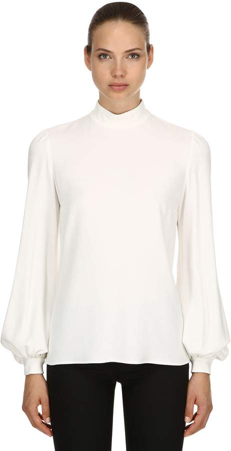 Giambattista Valli Crepe Blouse W/ Puff Sleeves