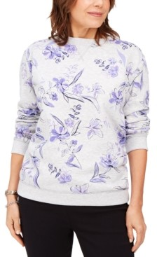 Karen Scott Floral-Print Fleece Sweatshirt, Created for Macy's