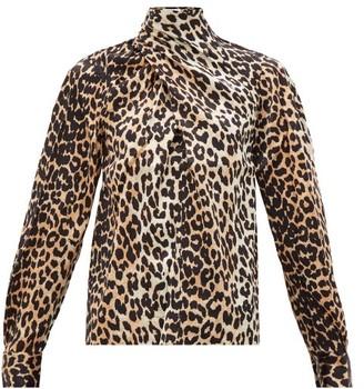 Ganni Neck-tie Leopard-print Silk-blend Blouse - Leopard
