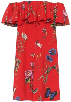 Oscar de la Renta Floral stretch-cotton minidress