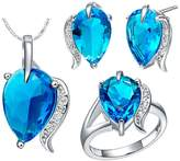 KnBoB Jewelry Sets Women Silver Plated Tears Shape Blue Crystal Ring Pendant Necklace Earrings Set Size 8