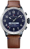 Tommy Hilfiger Men's Brown Leather Strap Smartwatch