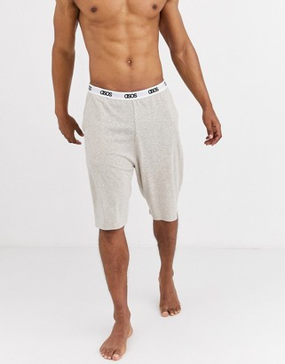 ASOS DESIGN lounge pyjama shorts in beige marl with branded waistband
