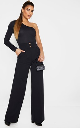 Trendy Tall Black Button Detail Crepe Wide Leg Trouser