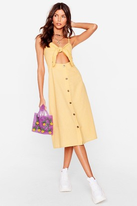 Nasty Gal Womens You Never Bow Linen Midi Dress - Yellow - S, Yellow