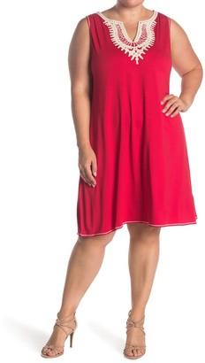Max Studio Split Neck Sleeveless Shift Dress