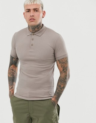 BEIGE Asos Design ASOS DESIGN muscle fit polo in rib in
