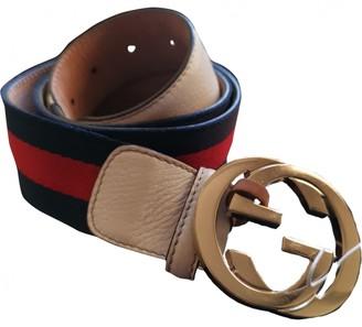 Gucci Interlocking Buckle Blue Leather Belts