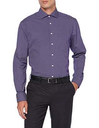 Seidensticker Men's Modern Fit Langarm mit Spread Kent-Kragen Bügelleicht Gepunktet-100% Baumwolle Formal Shirt,(Size: 44)