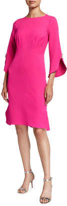Rickie Freeman For Teri Jon Pearl Trim Elbow-Sleeve Crepe Dress