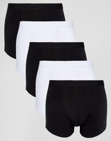 Asos Trunks In Monochrome 5 Pack SAVE