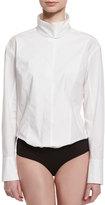 Donna Karan Long-Sleeve Origami-Collar Bodysuit, White