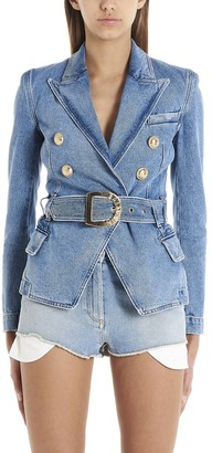 Balmain Double Breasted Denim Blazer