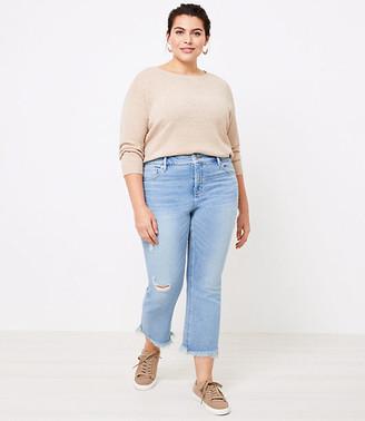 LOFT Plus High Waist Flare Crop Jeans in Light Indigo Wash